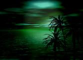 Grönt hav med palmträd i förgrunden